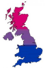 Bi-coloured UK map